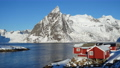 famous traditional multicolored wooden fishing houses rorbu on a sea shore at Lofoten archipelago, nothern Norway 72360683