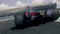 Dynamic rear view of a generic formula one race car driving, chasing car POV 72387624