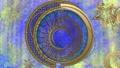 점성술 바람의 금속 고리 - 파란색 배경 72389212