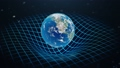 Gravity Earth bends space around it, distorted spacetime Concept gravity deforms space time grid around universe. Spacetime curvature. Loop-able, Seamless FullHD 3D Animation 72418115