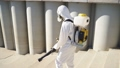 Disinfection at town complex amid the coronavirus epidemic 72451763
