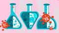 Coronavirus concept - viruses and flasks with vaccine. Three different vaccines. 72563417