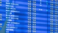 Motion time-lapse of flight information display board in airport. Different destinations and cities. Blue schedule time table. Departure. Text in Russian, English and Chinese 72972984