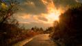 【冬】雪が積もった夕方の歩道に夕日が差し込む様子 73070635