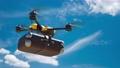 Yellow Drone delivery delivering Document bag. Autonomous logistic concept, Animation, 3D Render. 73131058