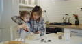 Young mother and daughter having fun baking cookies in the kitchen together 73166812