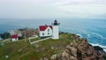 Aerial view of Nubble lighthouse in York, ME 73272169