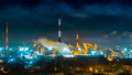 Oil refinery at night timelapse 73294772
