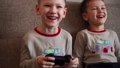 Two little brothers playing game console and laughing while sitting on sofa at home 73343998