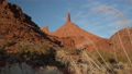 Sandstone rock formation in Castle Valley near Moab, Utah with iconic Castleton Tower 73527632