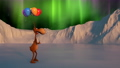 Animation for birthday, Valentine day, Christmas, New year, LGBT. A funny deer walks along a snowy landscape with colorful balloons. Northern Lights. 73531722