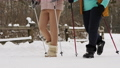 Two women are engaged in Nordic walking in winter. Close up legs only 73556308