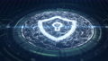 Cyber security concept. Shield With Keyhole icon on digital data background. Illustrates cyber data security or information privacy idea. Blue abstract hi speed internet technology. 73590189