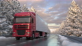 Front view of a semi-trailer truck driving along a snowy countryside road 73622471