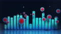 abstract graph of columns or bars around which coronaviruses like covid-19 fly. 3d infographic looping background in 4k. Numbers over columns, flowing animation. Fluctuations during pandemic 73624790