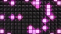 abstract festive background with black pyramids on a plane flashing multi-colored neon light randomly. Loop beautiful bg in 4k. Smooth animation 3d rendering. 73624806
