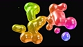 amasing abstract background of metaballs as if glass drops or spheres filled with sparkles merge together and scatter move around cyclically in 4k. Looped seamless animation with glisten bubbles 73625781