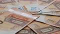 50 Euro Cash Macro Part Of Rotation. European Union Currency. Stack of 50 euro banknotes 73677229