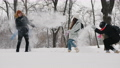 Teens ave fun throwing snow at each other in city park 73728834