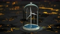 Windmill in sea under glass bulb on the abstract background. 3D FullHD 73731920