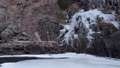 panning over winter scenery of a frozen mountain river - Poudre River 73740175