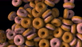 Computer generated many falling donuts and fill the screen. 3d rendering of food background 73742028