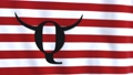 Symbol Q Anon conspiracy theory against the background of the striped waving flag. Mystical Q letter on striped flag. Q Shaman symbol. 73797115