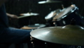 Drummer Hand Playing Drum Plate In Studio. Slow Motion Effect. Close Up 73852155