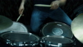 Drummer Playing On Drums In Studio. Close Up. View From Above. Slow Motion Effect 73852156