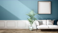 interior of classic living room with furniture and green wall, pan right shot, video 3D animation 73858023