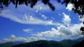 Mountains with blue sky and white clouds. Silhouette of the betel palm tree. Xiaoyeliu has a unique geological landscape, Taitung, Taiwan. 73925055