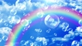 Soap bubble rainbow rising sky background loop 73945768