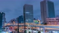 시간 경과 수도 고속도로 하마 자키 다리 정션 도심 도쿄 미나토 구 고층 빌딩 심야 오후 73995464