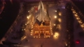 Aerial view of the Cathedral in Kaliningrad at the night in the wintertime 74162065