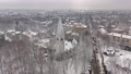 Aerial: The tower of Kaliningrad Puppet Theatre in the wintertime 74162073