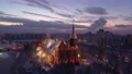 Aerial view of the Cathedral in Kaliningrad in the winter, sunrise time 74162078