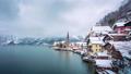 4K Day to night Timelapse of Hallstatt lakeside town in winter, Salzkammergut, Austria 74204653