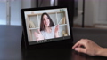 virtual chat video conference excited woman tablet 74227436