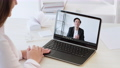 online chat video conference business man laptop 74227468