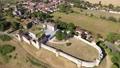 Top view of medieval Villebois-Lavalette castle. Charente department. France 74290400
