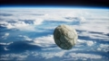 old soccer ball in space on Earth orbit 74298649
