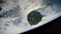 old soccer ball in space on Earth orbit 74298655