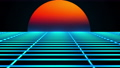 Retro landscape of the 80s. Computer generated futuristic sun and surface of grid. 3D rendering retro background. 74361652