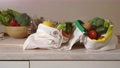 Zero waste cotton bags with food products 74575197