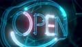 Neon Digital Cyber Open Sign hologram Close up 4k 74575983