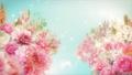 美麗的花園,柔和的粉紅色花朵盛開 74579025