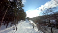 FPV drone view. Fast flight in the winter forest with river. 74622594