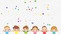 可愛的孩子們很高興做banzai五彩紙屑慶祝循環副本空間的動畫 74698986