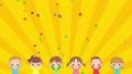 可愛的孩子們很高興做banzai五彩紙屑慶祝循環副本空間的動畫 74698988