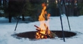 Bonfire in the winter forest in slow-motion 74795775